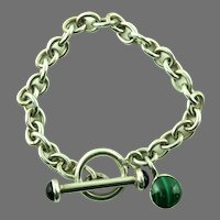 Sterling Link Bracelet with Malachite and Onyx Mexico 6.25 inches