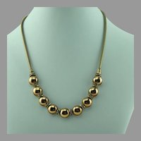 Day to Evening Gold-tone and Rhinestone Choker Necklace 1940s
