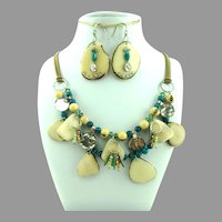 Silpada Tagua Nut Sterling Crystal Necklace and Drop Earrings Set