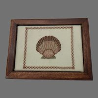 Vintage Wood Playing Card Box with Hand Cross-Stitch Scallop Shell