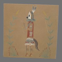 Navajo Sand Painting on Board Yei Be Chi