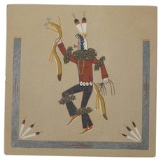 Navajo Sand Painting on Board Yei Bei Chai signed Lenore Price