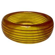 Carved Apple Juice Bakelite Bracelet