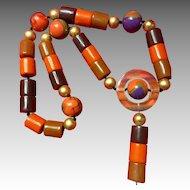 235g Vintage Multi Color Bakelite Cylinder Necklace