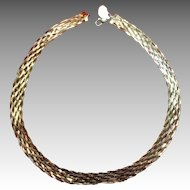 Italian Gold On Sterling Braided Necklace