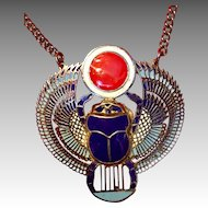 Stunning Multi Color Egyptian Revival Scarab Necklace