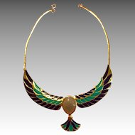 Fabulous Egyptian Revival Scarab Necklace.  Signed FM87