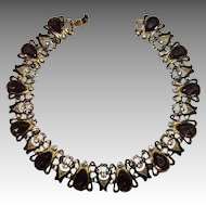 Smokey Topaz Color Stone & Clear Rhinestones Collar Necklace