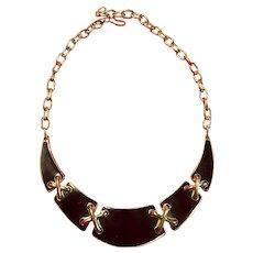 Black Enameled Monet Collar Necklace