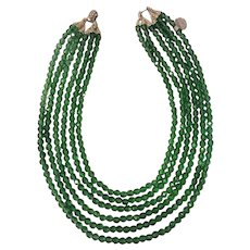 Unsigned 6 Strand Faceted Green Glass Beads Necklace