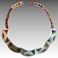 Vintage Mexican Inlaid Sterling Collar Necklace