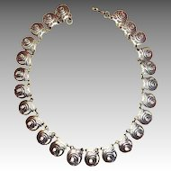 Vintage Signed Sterling Mexican Collar Necklace