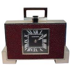 Cartier Art Deco Clock Burgundy Shagreen