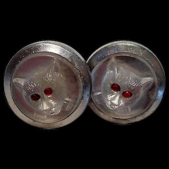 Vintage Czech Glass Cat Cufflinks Red Stone Cabochon Eyes