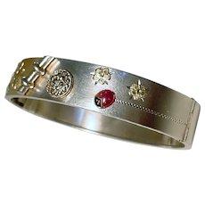Art Deco 800 Silver Enamel Charm Cuff Bangle Bracelet with Lady Bug