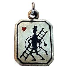 Heart Chimney Sweep Enamel Silver Charm