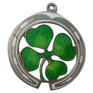 Guilloche Enamel Four Leaf Clover Horseshoe 800 Silver Charm