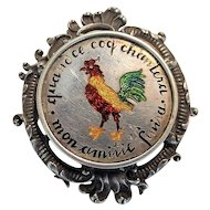 """Rare French Austrian Enamel Silver Brooch """"When the Coq Crows Our Love Ends"""""""