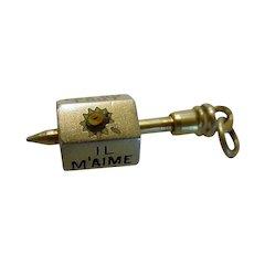 """Antique French Enamel Daisy Spinner Charm """"Loves Me, ..Not"""" Austrian Marks Gilt 935 Silver"""