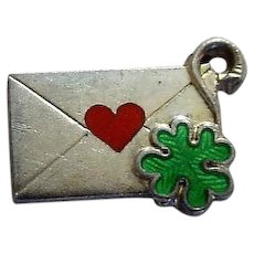Envelope Charm with Enamel Heart, Guilloche Four Leaf Clover