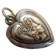 Queen Elizabeth Silver Puffy Heart Charm for 1977 Jubilee