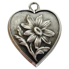 French Silver Daisy Iris Two Sided Large Heart Charm c. 1900