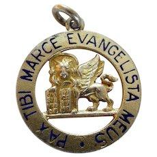 Vintage 800 Gilt Silver Enamel Lion of St. Mark Charm Venice