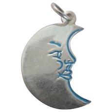 European Silver Enamel Man In The Moon Charm