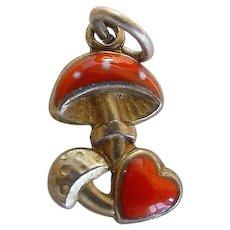 Vintage Mushroom & Heart Enamel Silver Charm