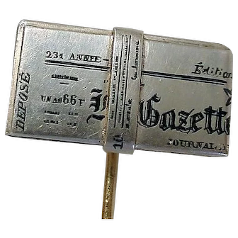 Antique French Newspaper Stick Pin Enamel, Silver & Gold