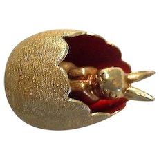 German 14k Gold Bunny Rabbit in Red Enamel Easter Themed Egg Charm