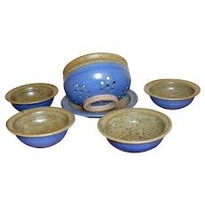Reece Stoneware Pottery Fruit Berry Set ~ Colander, Under Plate & Four Bowls