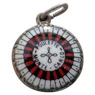 German 800 Silver Enamel Roulette Wheel Monte Carlo Charm