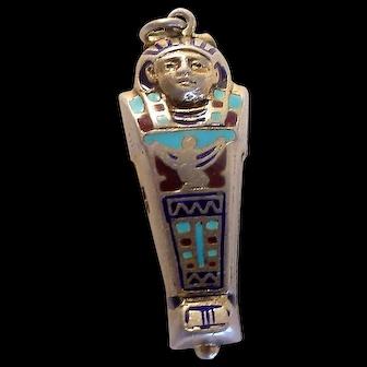 Vintage 800 Silver Enamel Sarcophagus Opening Charm