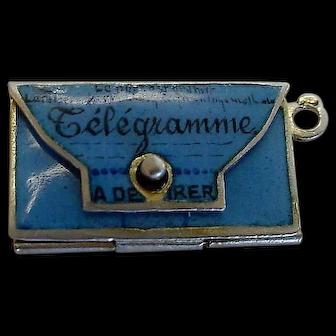 "Antique French Enamel Telegram Envelope Charm Opens ""Pensez a Moi"""