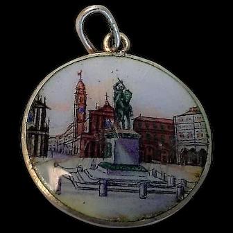 Enamel Souvenir Charm of Torino Turin Italy Plaza Message to Back