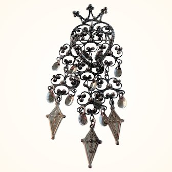 Vintage Norway 830 Silver Filigree Solje Wedding Crown & Heart Pin