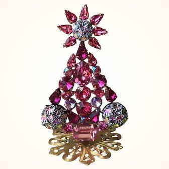 Swarovski Rose, Lt Rose, Siam Shimmer, Fuchsia and Vintage Artglass Christmas Tree Pin Stand by Elizabeth Cooke