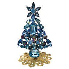 Swarovski Aqua, Indian Sapphire, Amethyst AB, Light Sapphire & Blue Opal Rhinestone Christmas Tree Stand Pin by Elizabeth Cooke