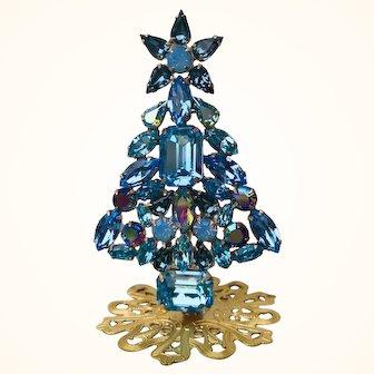 Swarovski Aqua, Indian Sapphire, Amethyst AB, Light Sapphire & Blue Opal Rhinestone Christmas Tree Stand Pin by Elizabeth Cooke
