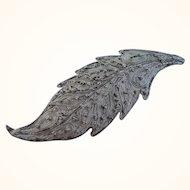Vintage 800 Silver Fine Filigree Leaf Pin