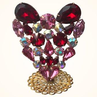 Swarovski Red & Pink AB Rhinestone Heart Pin Stand By Elizabeth Cooke