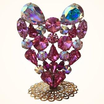 Swarovski Rose Pink & AB Rhinestone Heart Pin Stand By Elizabeth Cooke