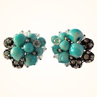 Vintage Vendome Turquoise Blue Glass, Crystal & Rondell Earrings
