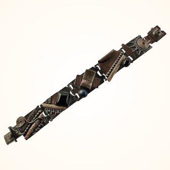 MOD Sterling 14K & Copper Amethyst, Onyx & Lapis Bracelet-Abstract