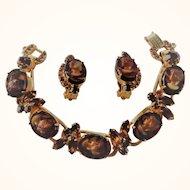 Vintage D&E Juliana Topaz Glass Cameo & Rhinestone Bracelet & Earrings