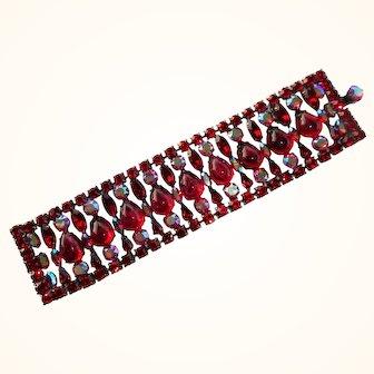 Wide Swarovski Siam Red & AB Rhinestone & Flawed Ruby Artglass Ladder Bracelet by Elizabeth Cooke