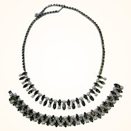 Vintage B David Olivine Green Rhinestone & Faux Pearl Necklace & Bracelet