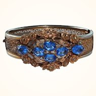 1930s Vintage Filigree Blue Crystal Rhinestone & Marcasite Bangle Bracelet