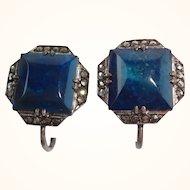 Art Deco Sterling Silver Lapis & Marcasite Earrings